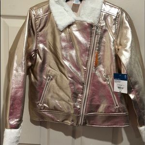 Girl gold bomber jacket with faux fur trim 10/12